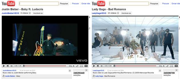 O primeiro lugar do YouTube: Justin Bieber x Lady Gaga
