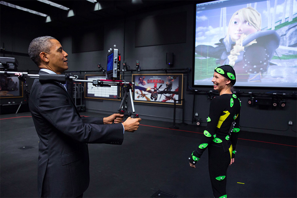 Obama zoeirão no set da DreamWorks