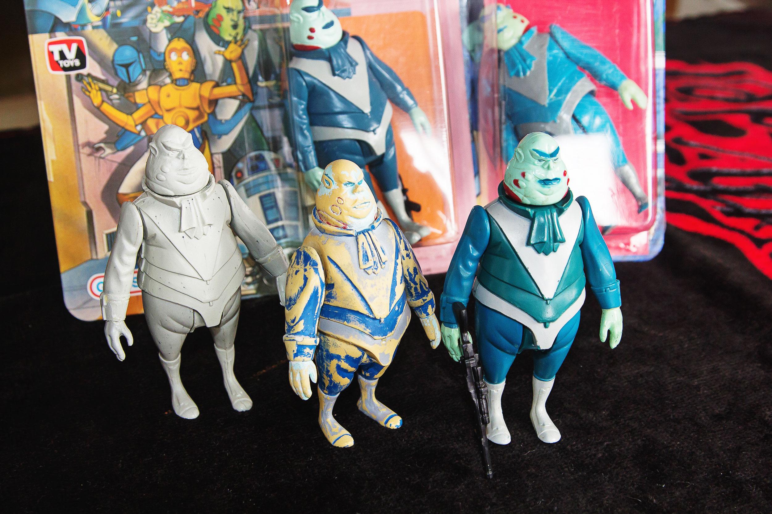 O raro boneco Vlix em três versões, uma delas o protótipo da Glasslite