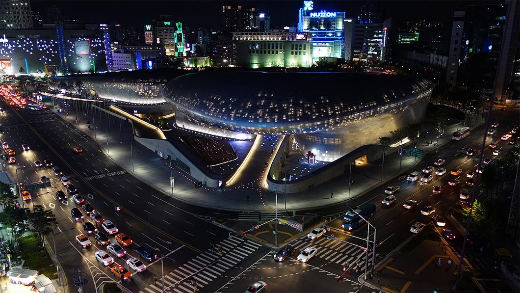 Dongdaemun Design Plaza, na cidade de Seul, na Coréia do Sul