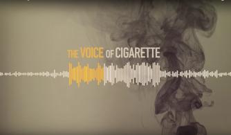 A voz do cigarro - imagem de uma frequência de som com uma fumaça de fundo