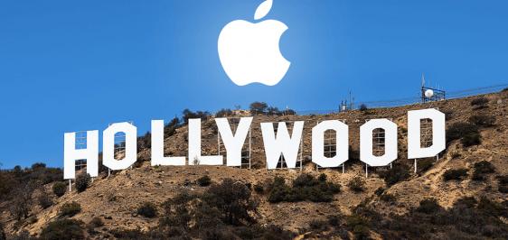 Letreiro de Hollywood com o símbolo da Apple