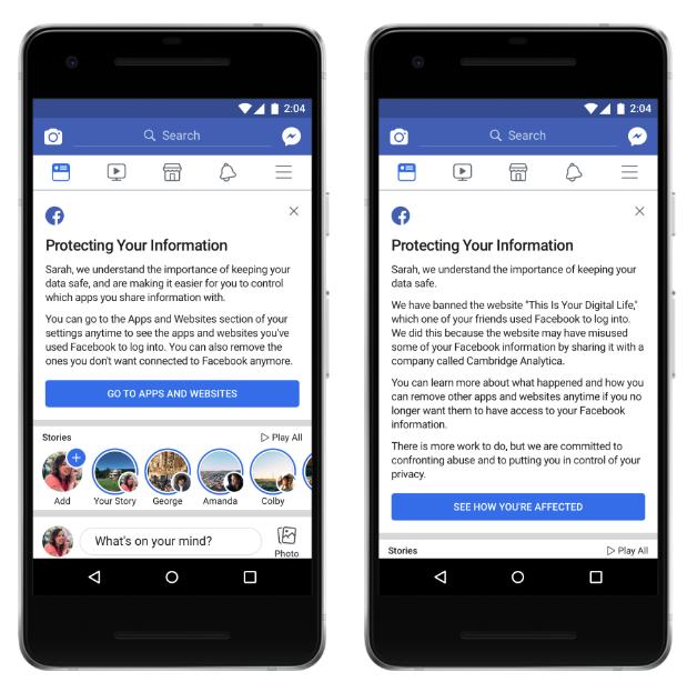 8ec13fb5008d5 O Facebook anunciou na semana passada que os usuários receberiam  notificações informando como ver quais aplicativos eles usaram e expuseram seus  dados.