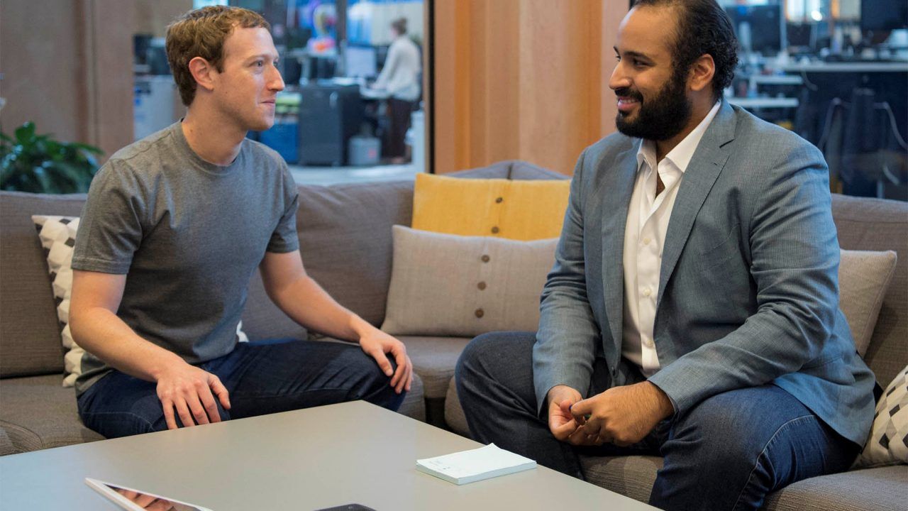 Saudi Arabia's Deputy Crown Prince Mohammed bin Salman meets Facebook CEO Mark Zuckerberg at the tech giant's headquarters in Silicon Valley