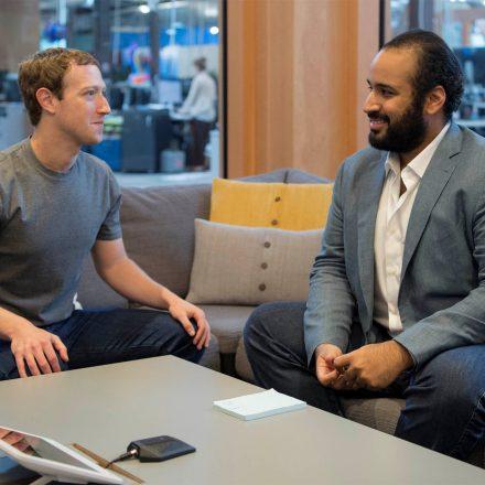 Saudi Arabia's Deputy Crown Prince Mohammed bin Salman meets Facebook CEO Mark Zuckerberg at the tech giant's headquarters in Silicon Valley