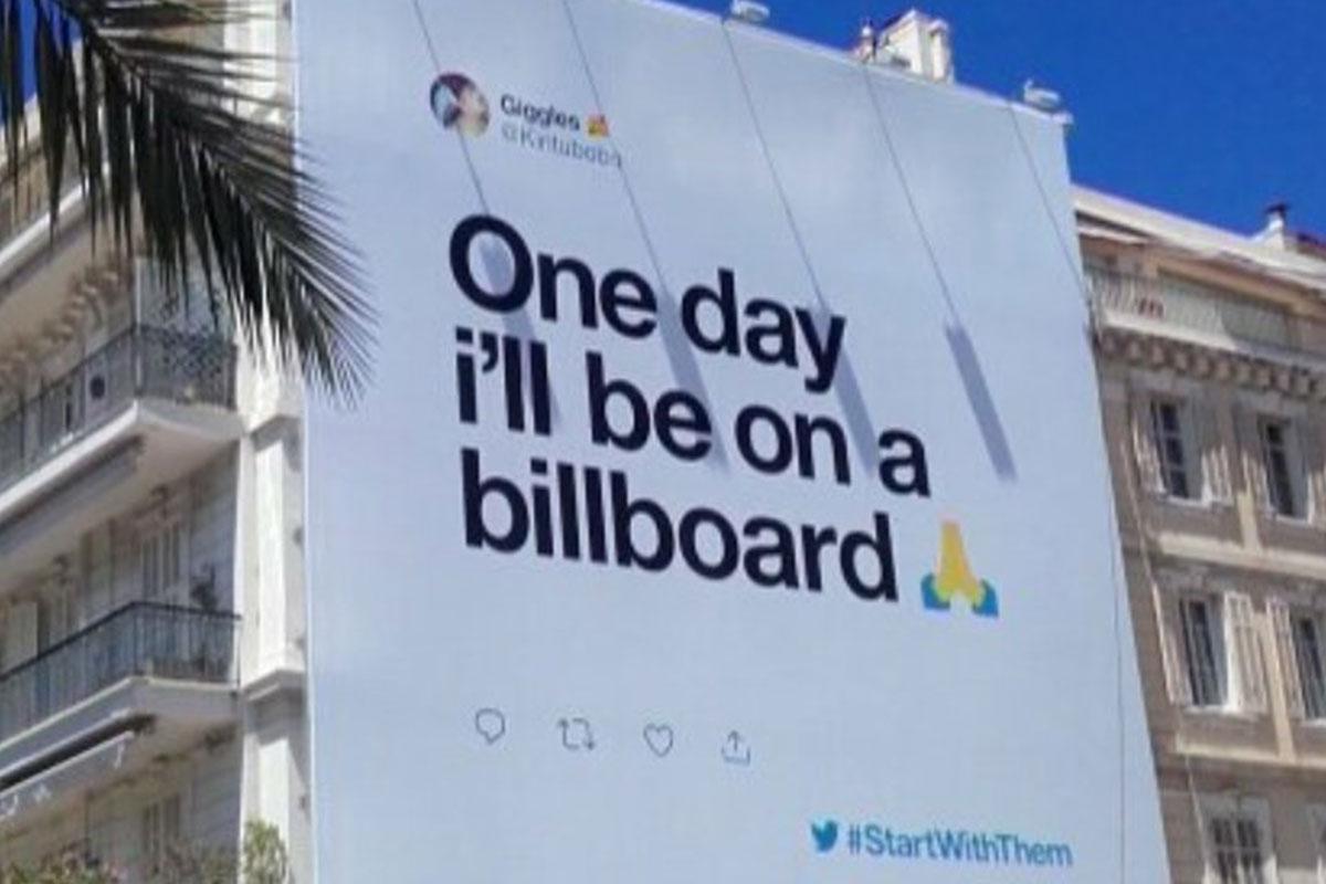 Twitter atende pedido de usuário e transforma tweet em outdoor em ação no Cannes Lions 2019