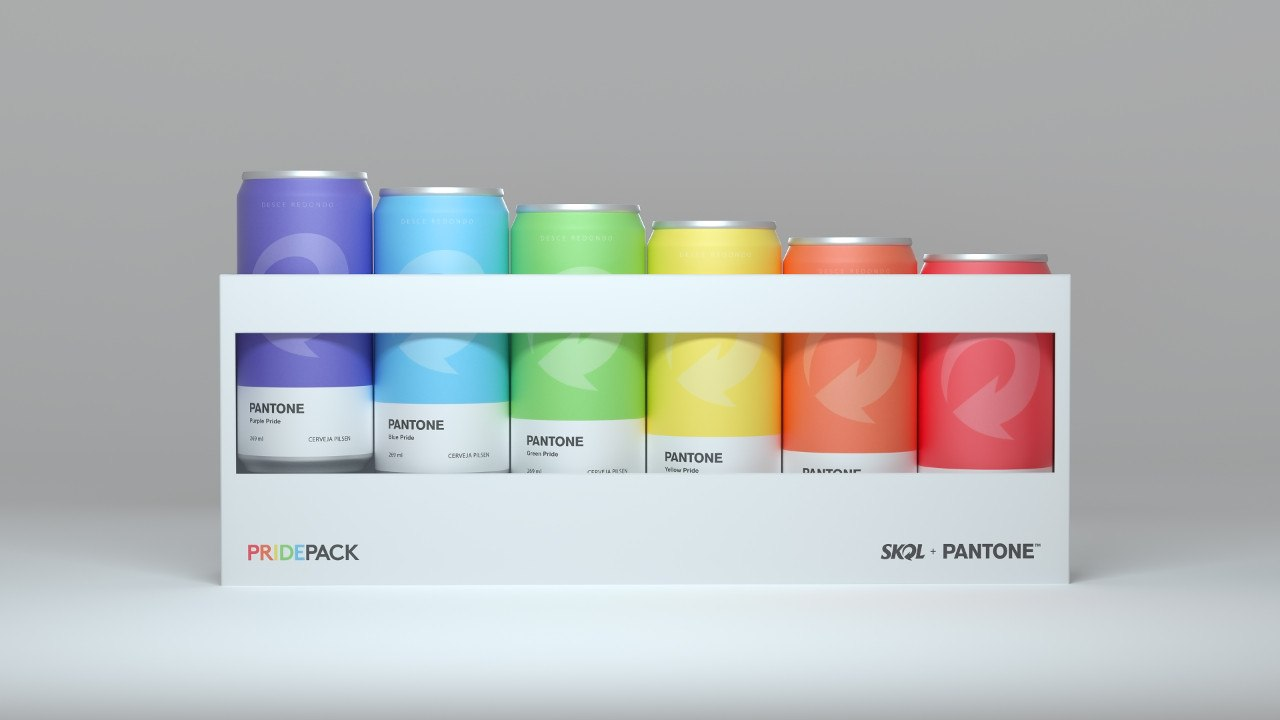 Parceria entre Skol e Pantone traz latas da cerveja nas cores da bandeira LGBT+