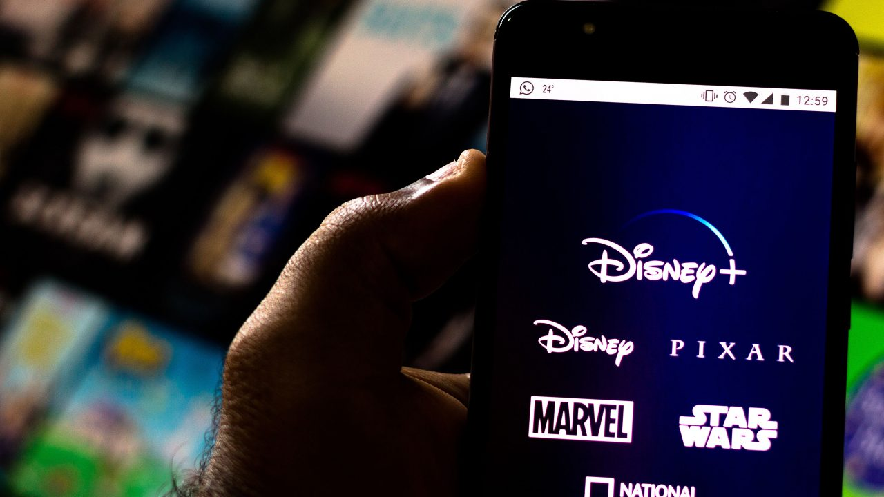 In this photo illustration the Disney+ (Plus) logo is seen