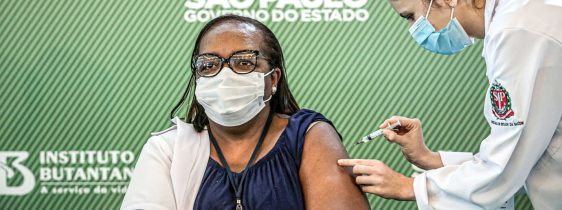 Health workers receive China's Sinovac coronavirus disease (COVID-19) vaccine, in Sao Paulo