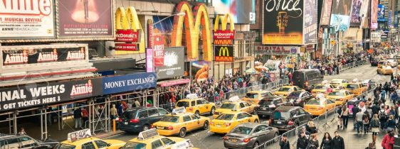 NEW YORK – DECEMBER 22, 2014: taxicabs and traffic jam congestio